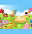 candyland with cup cake ice cream donut and lol vector image