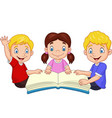 cartoon happy kids reading a book vector image vector image