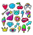 Chic fashion badges Girl doodle applique patches vector image vector image