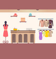 cozy interior sketch of cute female clothing store vector image vector image
