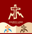 cross of jesus and mountains vector image
