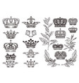 crowns set or collection in vintage heraldic style vector image vector image