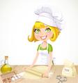 Cute blond girl baking cookies vector image