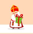 cute saint nicholas with gift for you vector image vector image