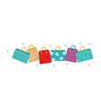 cute shopping bag banner colorful shopping bags vector image vector image