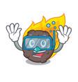 diving meteorite character cartoon style vector image