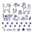 drawing pet collection vector image vector image