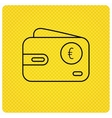 Euro wallet icon EUR cash money bag sign vector image vector image