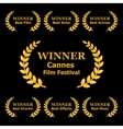 Film Awards Winners Laurels on Black Background vector image vector image