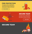 fire protection and firefighter secure team web vector image vector image