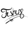 fishing rod with reel silhouette vector image