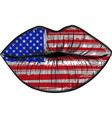 flags of the usa in sensuality lips set women vector image