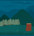 forest landscape cartoon at night vector image