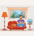 freelancer happy young men working on the sofa in vector image vector image