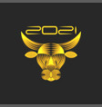 golden bull logo symbol 2021 chinese new year vector image vector image