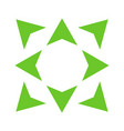 green wide arrows in 8eight different directions vector image