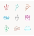 Hamburger pizza and soft drink icons Tea bag vector image vector image