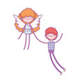 happy valentines day boy with cute cupid love vector image