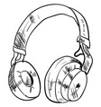 headphones drawing on white background vector image vector image
