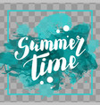 hello summer turquoise colored hand lettering vector image vector image