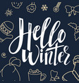 hello winter handwriting script lettering for vector image
