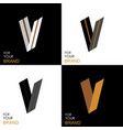 isometric set letter v black white gold palette vector image