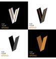 Isometric set letter v black white gold palette