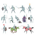 knights medieval battle armor characters vector image vector image