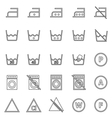 Laundry line icons on white background vector image vector image