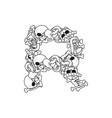 letter r skeleton bones font anatomy of an vector image vector image