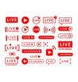 live stream icons video broadcast and translation vector image vector image
