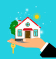man hand holding house vector image