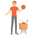 man selling sport items in cardbord box vector image vector image