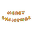 merry christmas with gingerbread cookies letters vector image