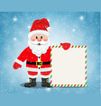 merry santa claus standing with christmas banner vector image vector image