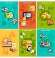 New logistics flat icons composition poster vector image