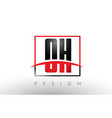 oh o h logo letters with red and black colors and vector image vector image