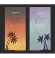 Palms silhouettes card background vector image vector image