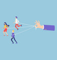 people marionettes connecting with ropes vector image