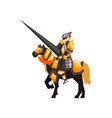 royal knight on horseback armored horse rider vector image vector image