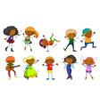 set kids singing and dancing vector image