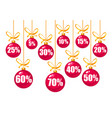 set of discount tags 101520253040506070 vector image
