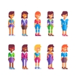 Set of female characters in flat design vector image vector image