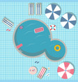 swimming pool with pool toys like rubber ring vector image