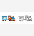 train coloring page for kids locomotive side view vector image