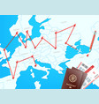 travel destinations concept with map vector image