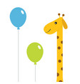 two balloons giraffe with spot zoo animal cute vector image