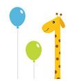 two balloons giraffe with spot zoo animal cute vector image vector image