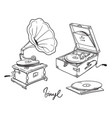 vintage classic and potrable gramophone line art vector image