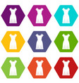 woman dress icon set color hexahedron vector image vector image